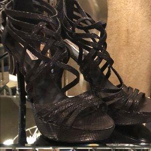 KELSI DAGGER Black Snakeskin Strappy Heels